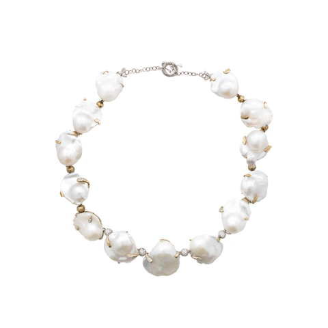 """Fine Baroque Pearls and Diamonds"" Necklace"