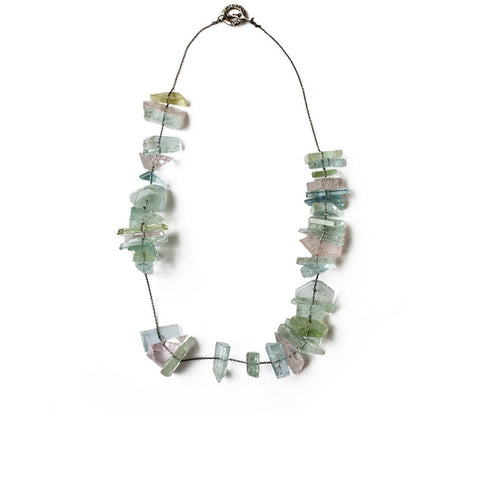 """Multicolour Slice Aquamarine"" 18K Gold Necklace"