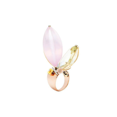 """Summer Night Butterfly"" 18k Gold Ring"