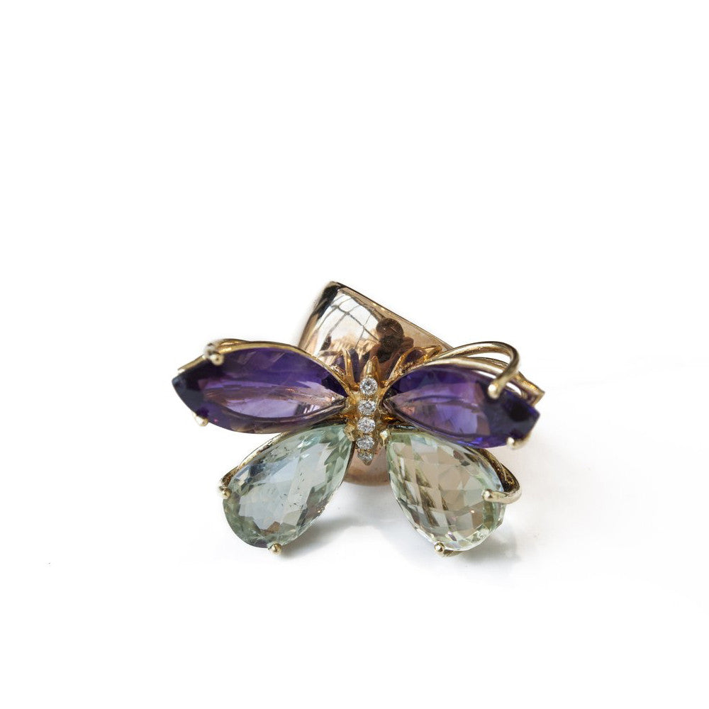 """GREEN & PURPLE BUTTERFLY"" 18K GOLD RING"