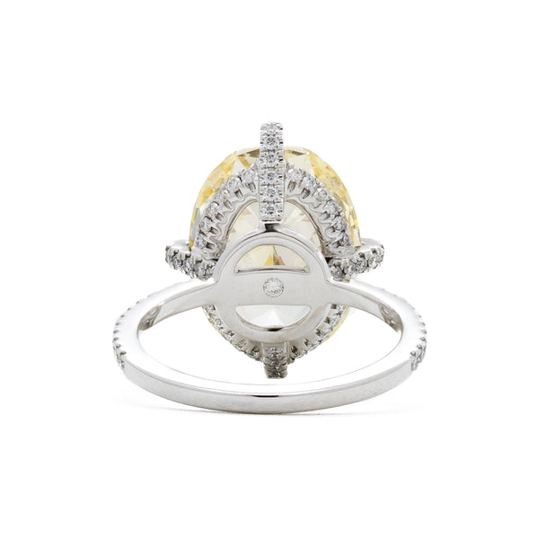 """18K White Gold & Oval Yellow"" Ring"