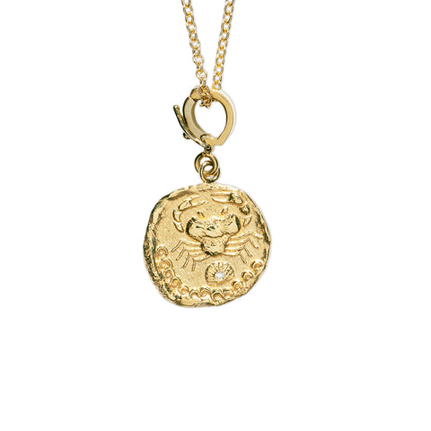 """KARKINOS SMALL DIAMOND COIN BARE"" NECKLACE"