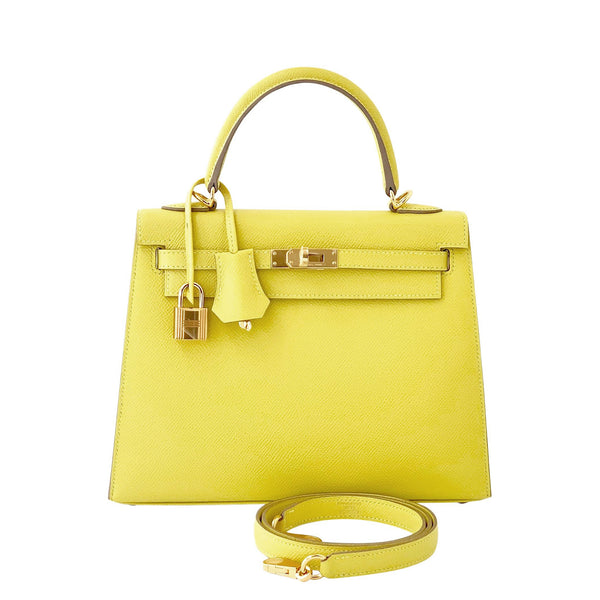 """KELLY II"" SELLIER 28 EPSOM LIME BAG"