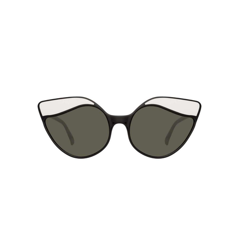 "Cat Eye ""871 C1"" Black and White Sunglasses"