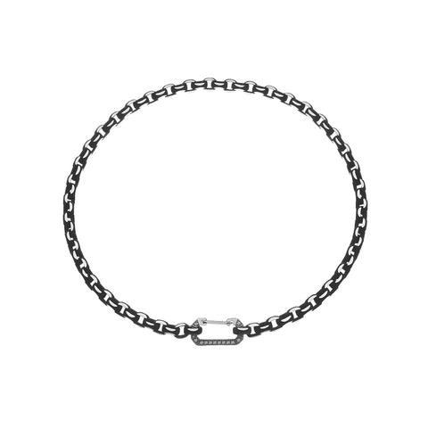"""LUCY"" WHITE GOLD & BLACK CHOKER WITH DIAMONDS"