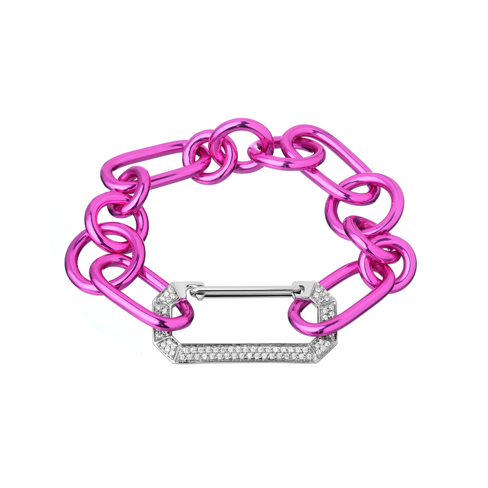 """LUCY"" WHITE GOLD & DIAMOND PINK BRACELET"