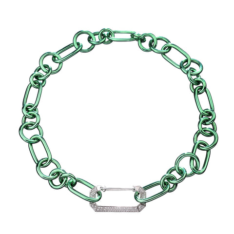 """LUCY"" 18K WHITE GOLD GREEN NECKLACE"