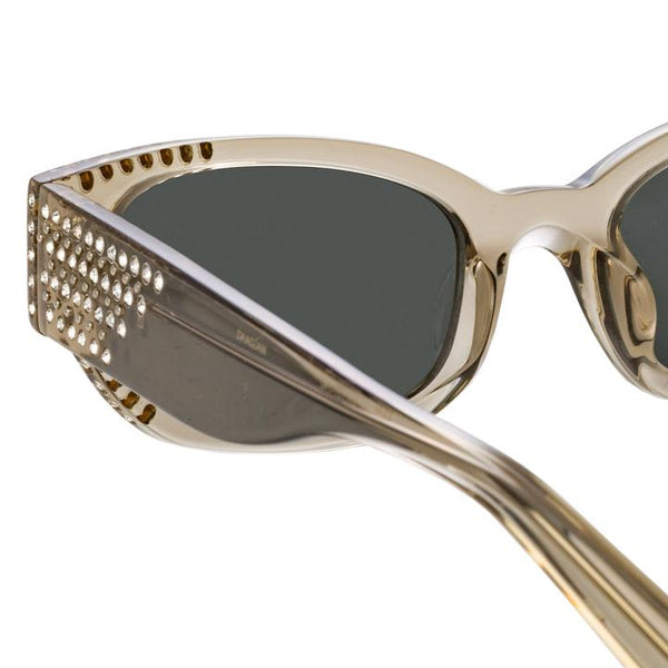 MAGDA BUTRYM X LINDA FARROW CAT EYE SUNGLASSES IN GREY AND SILVER LENSES
