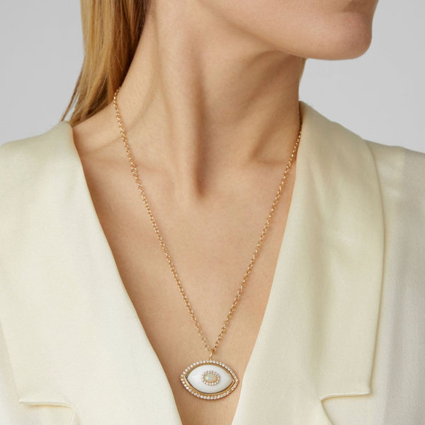 """EYECON"" WHITE ONYX NECKLACE"