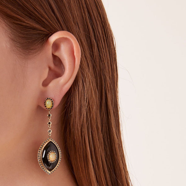 """EYECON"" BLACK ONYX EARRINGS"