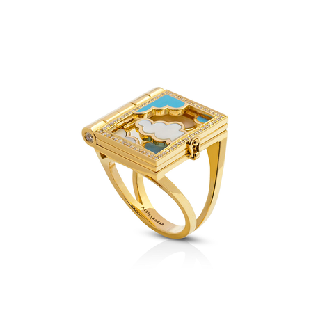 """DREAMPEDIA"" YELLOW GOLD RING"