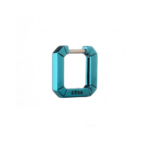 """MINI EÉRA"" 18K LIGHT BLUE HUGGIE HOOP EARRING"