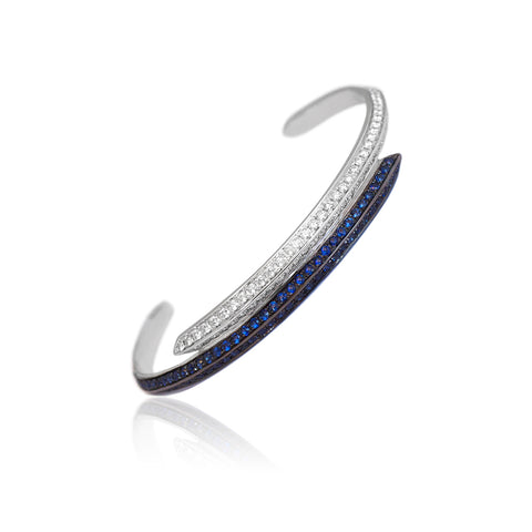 """Modernist Diamonds and Sapphires"" Bracelet"