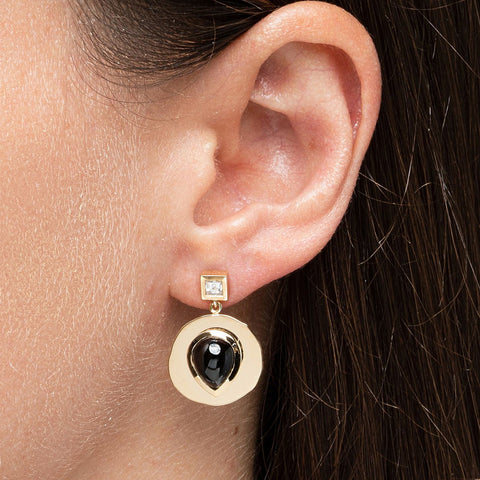 """MODERN BYZANTINE BLACK SPINEL & DIAMOND COIN"" EARRINGS"