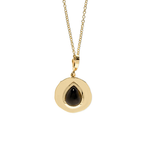 """MODERN BYZANTINE BLACK SPINEL SMALL COIN"" NECKLACE"