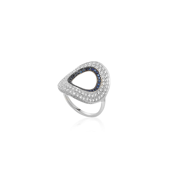 """Modernist Circular Diamonds and Sapphires"" Ring"
