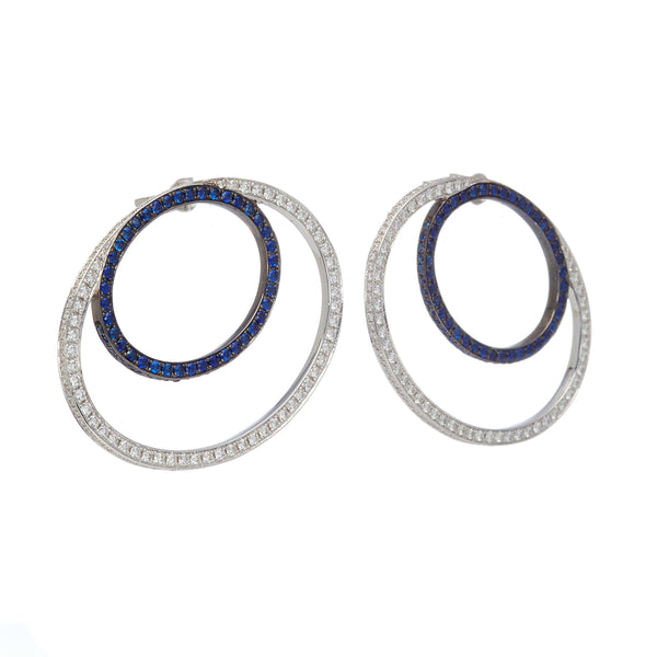 """MODERNIST"" DOUBLE HOOP-SHAPED EARRINGS"