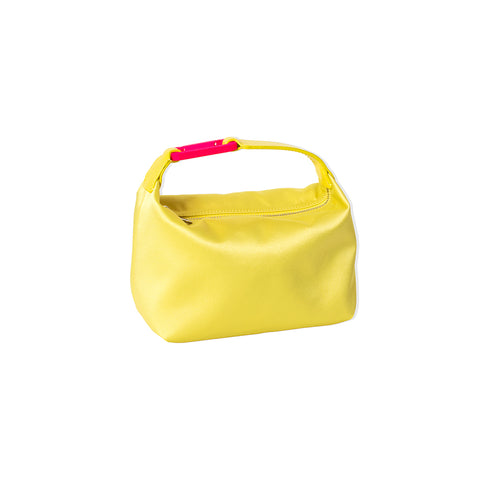 "YELLOW SATIN ""MOON"" BAG W/ FUCHSIA SNAP HOOK"