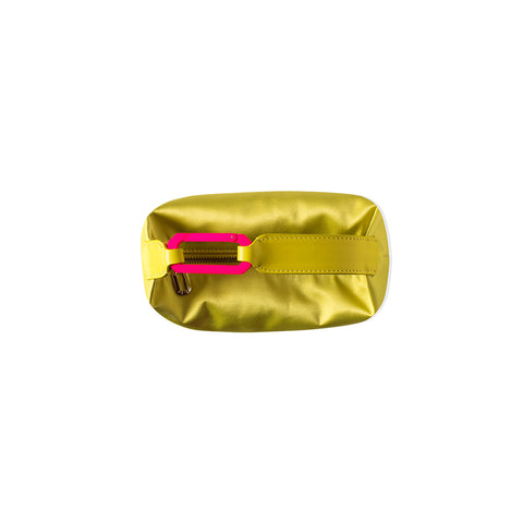 """MOON BAG SATIN YELLOW W/ FUSHIA SNAP HOOK"""