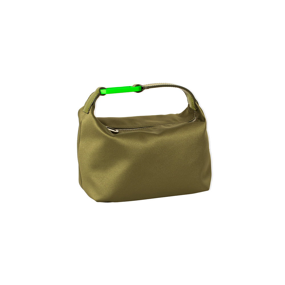 "GREEN SATIN ""MOON"" BAG W/ GREEN SNAP HOOK"