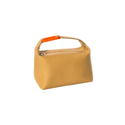 "BEIGE LEATHER ""MOON"" BAG W/ ORANGE SNAP HOOK"