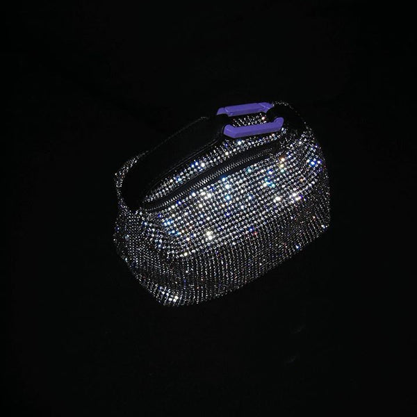 "CRISTAL ""MOON"" BAG W/ PURPLE SNAP HOOK"