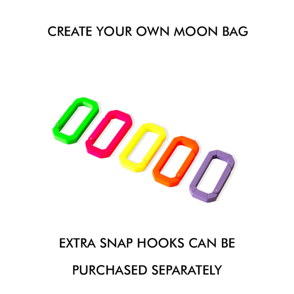 """MOON BAG BEIGE BLACK W/ ORANGE SNAP HOOK"""