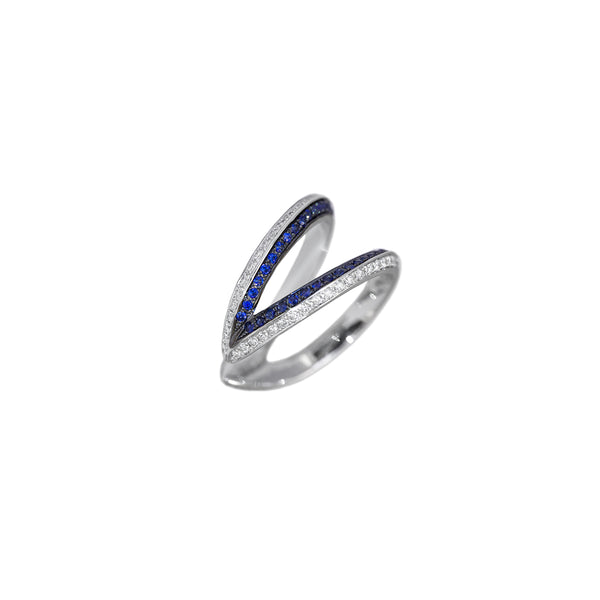 """Modernist Double Hoop Shaped"" Ring"