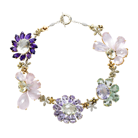 """MULTI-COLOUR GEM FLOWER"" 18K GOLD NECKLACE"