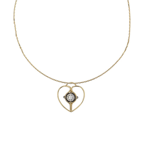 """Mira"" Yellow Gold Diamond Charm Heart"