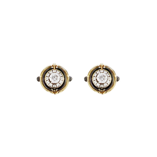 """Mira"" Yellow Gold Diamond Stud Earrings"