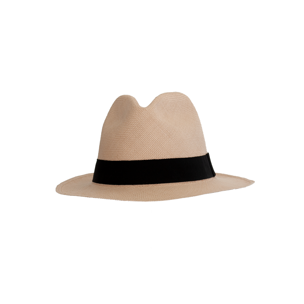 """Montecristi"" Old Lace/Black Brown Panama Hat"