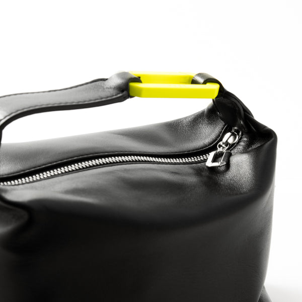 "BLACK LEATHER ""MOON"" BAG W/ YELLOW SNAP HOOK"