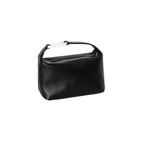"BLACK LEATHER ""MOON"" BAG W/ WHITE SNAP HOOK"