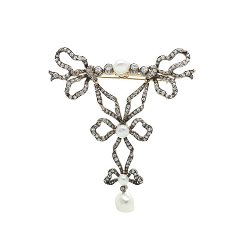 """French Silver, Gold, Diamond and Pearl"" Brooch"