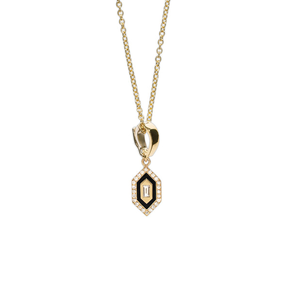 """N/S Small Diamond Black Enamel"" Necklace"