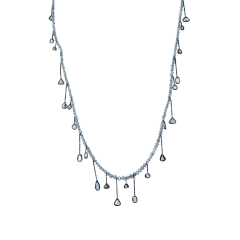 Grey Diamond beads and Rose Cut Diamond Necklace by Jaleh FarhadPour