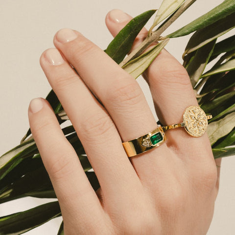 """Emerald NESW Diamond"" Ring"