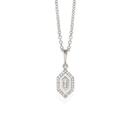 """N/S Small Diamonds Enamel Necklace"""