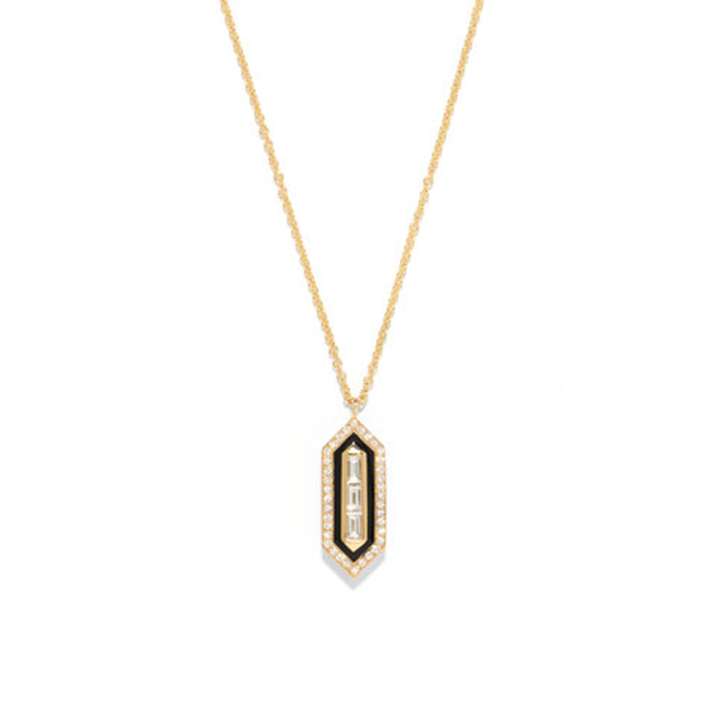 """N/S Triple Diamond Enamel Necklace"""