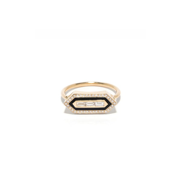 """E/W Enamel Diamond Ring"""