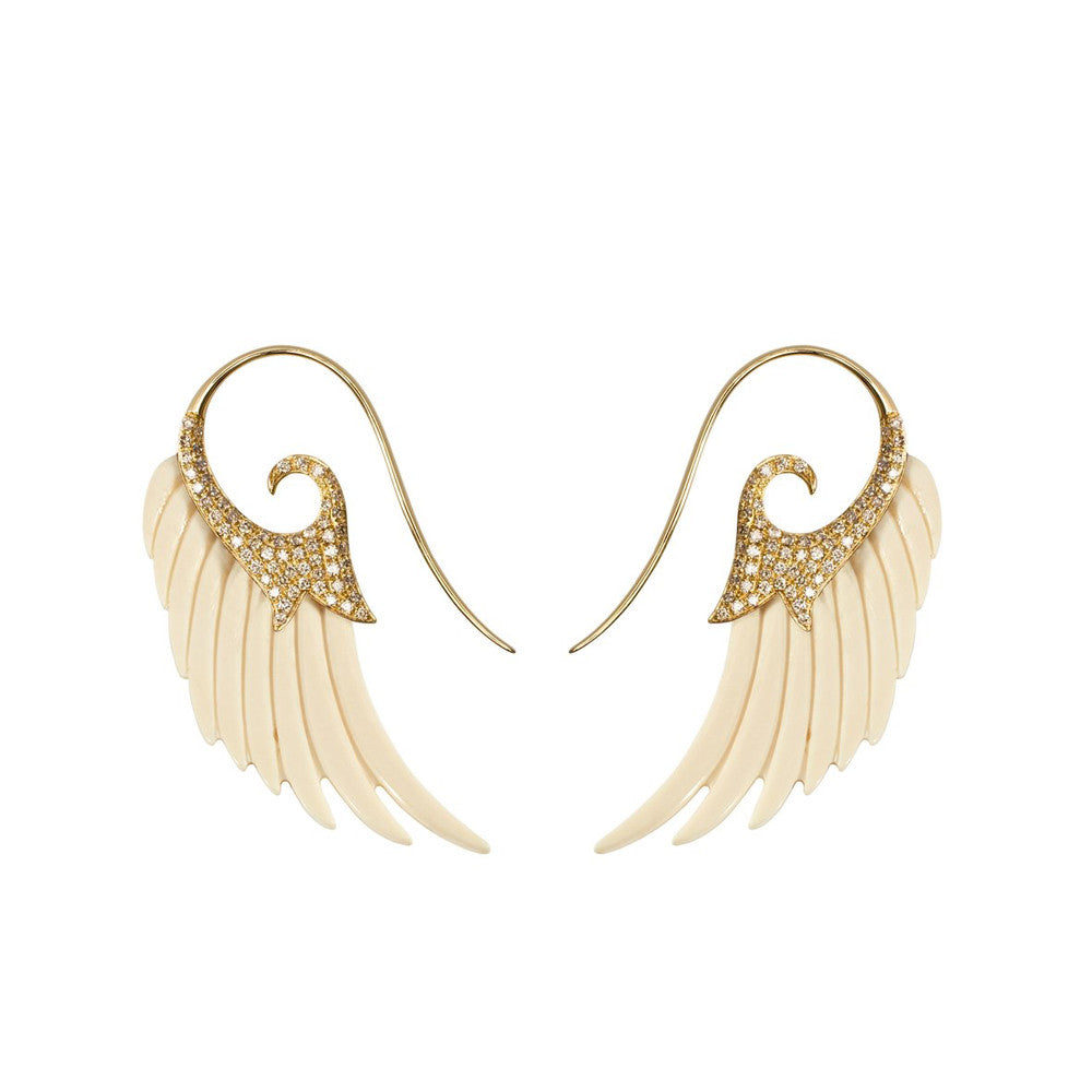 """FLY ME TO THE MOON"" 18K YELLOW GOLD EARRINGS"