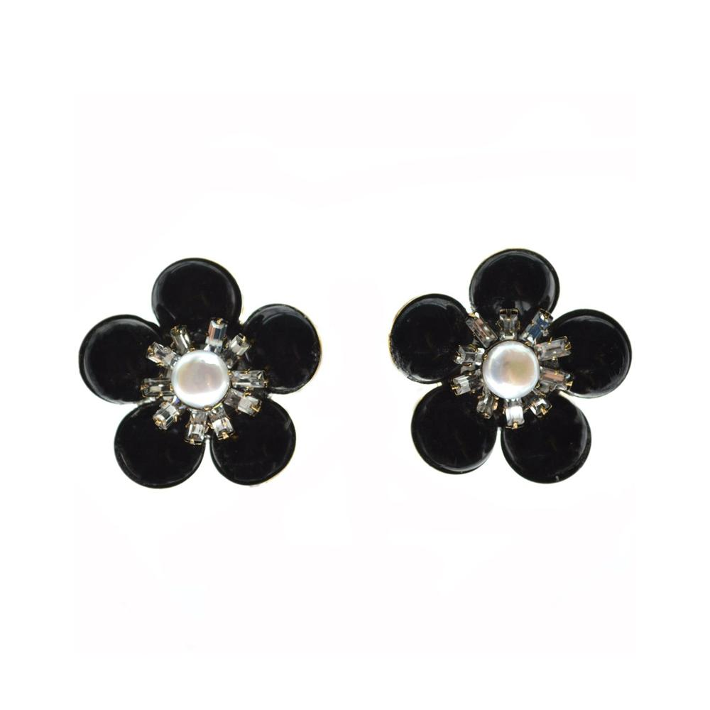 """ONYX & PEARL"" CLIP EARRINGS"