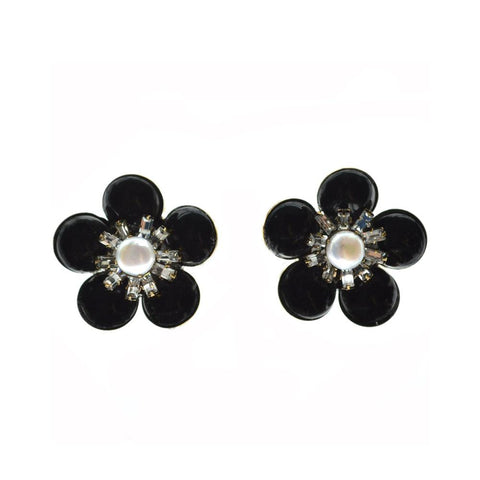 """Onyx, Pearl"" Clip Earrings"