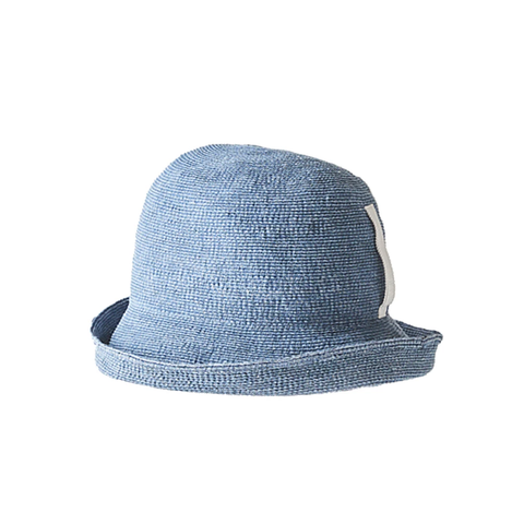 """PAPER LINEN BRAID"" SHORT HAT - WASH BLUE DENIM"