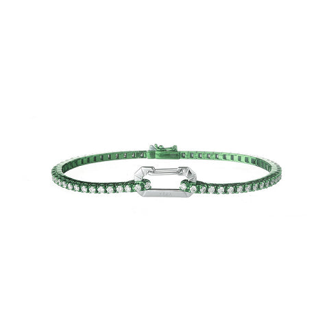 """PARIS"" 18K WHITE GOLD GREEN BRACELET"