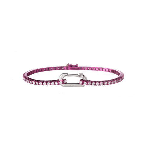 """PARIS"" 18K WHITE GOLD FUCHSIA BRACELET"