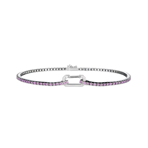 """PARIS"" 18K WHITE GOLD & PINK SAPPHIRE ANKLET"