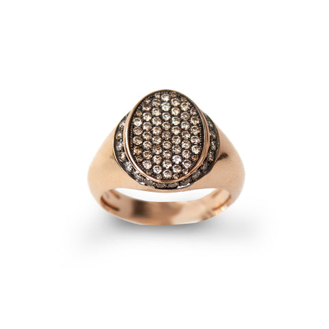 """Signet Rose Gold and Brown Diamonds"" Ring"