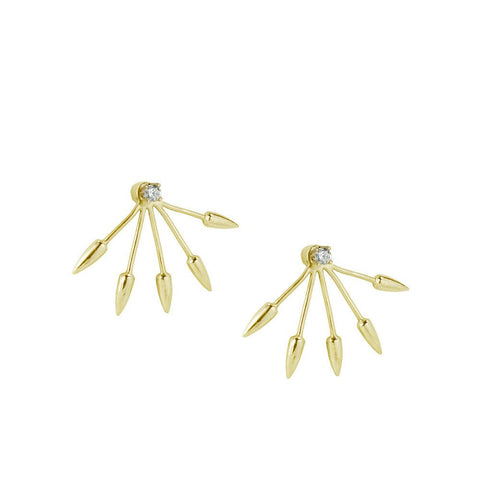 """Five Spike"" 18k Yellow Gold Earrings"